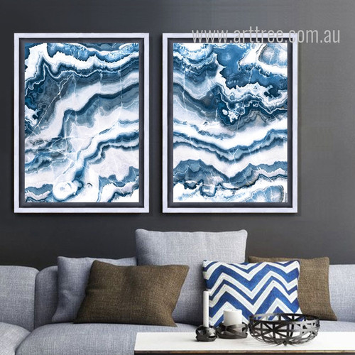 Blue and White Abstract Marble Painting Prints