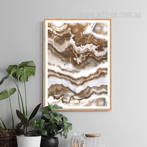 Brown Abstract Marble Painting Print