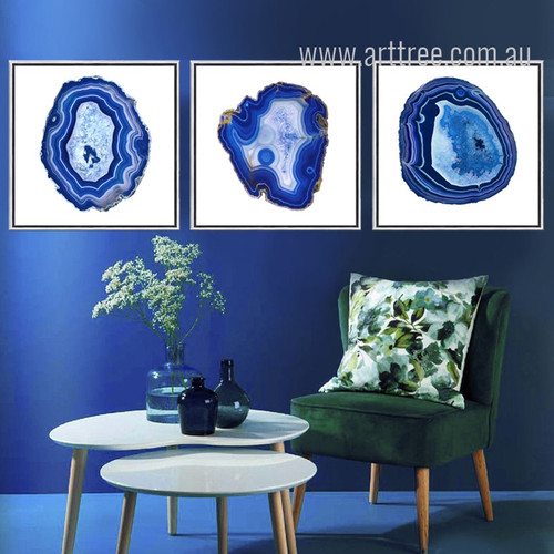 Modern Abstract Blue Onyx Gems Design Canvas Prints