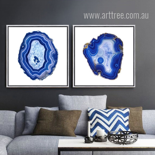 Abstract Blue Onyx Gems Design Canvas Prints