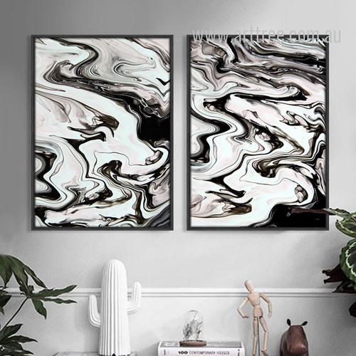 Black and White Abstract Marble Painting Prints