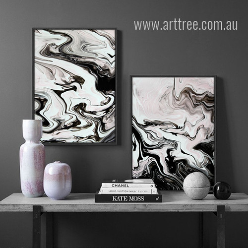 Black and White Modern Abstract Marble Painting Prints