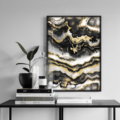 Modern Abstract Black Golden Canvas Wall Art