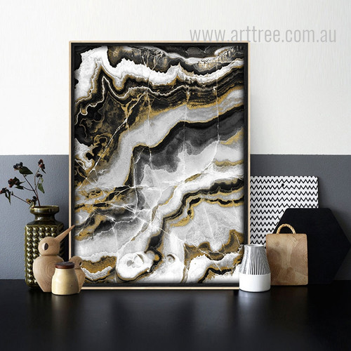 Modern Abstract Black Golden Digital Art