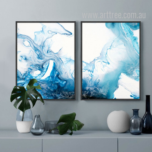 Abstract Watersplash Pattern Blue Watercolor Prints
