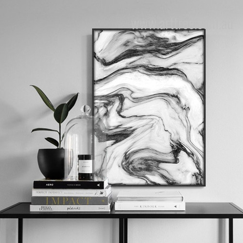 Modern Abstract Black Watercolor Pattern Marble Art