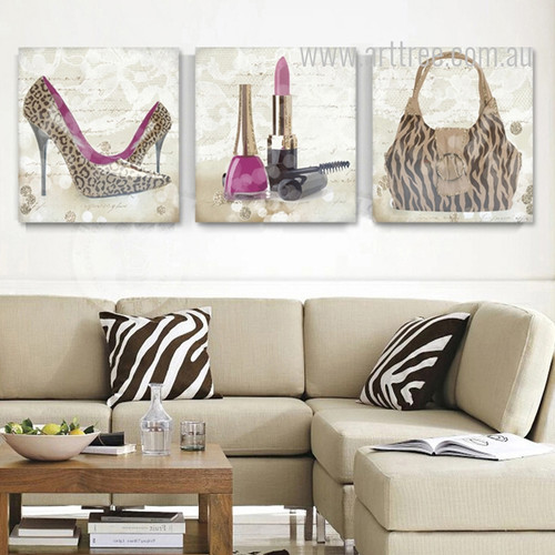 Leopard Pattern High Heels Lipstick Bag Design Canvas Prints