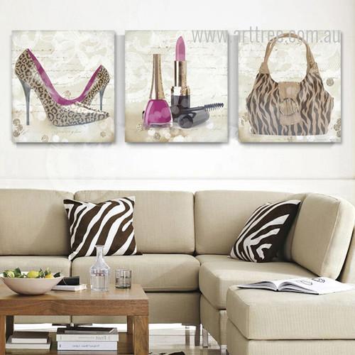Leopard Pattern High Heels Lipstick Bag Design Canvas Prints