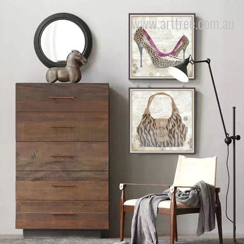 Leopard Pattern High Heels Bag Design Canvas Prints