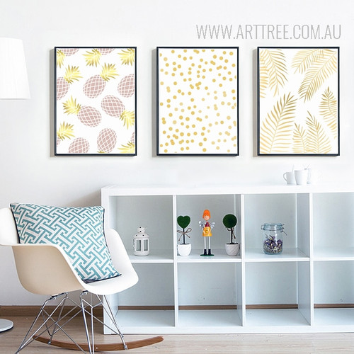 Geometric Pineapple Dots Leaves Canvas Art