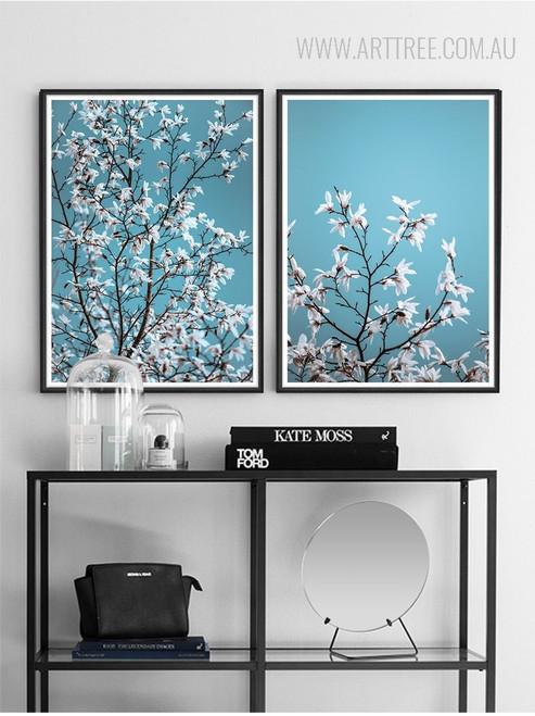 White Magnolia Flowers Style Botanical Prints
