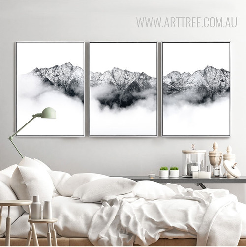 Snow Mountains Style Black and White Pictures Print
