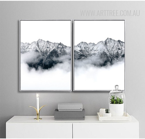 Black and White Mountainscape Art