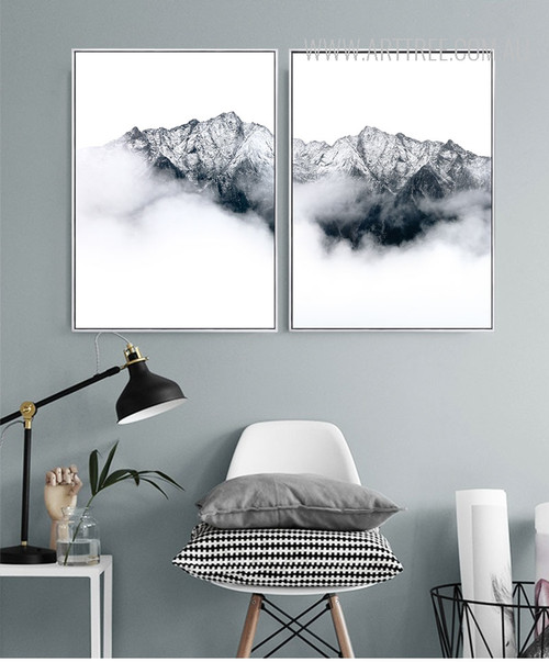 Black and White Mountainscape Canvas Art