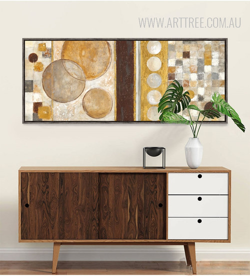 Golden Brown Geometric Circles Style Abstract Print