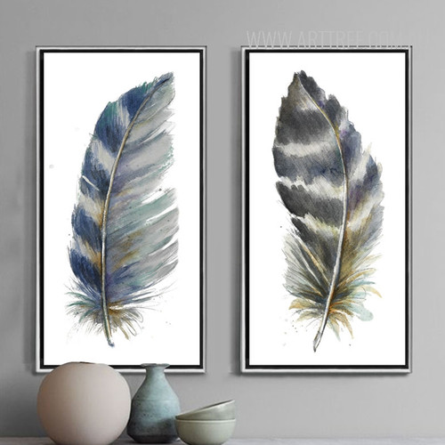 Blue and Grey Bird Feathers Painting Prints