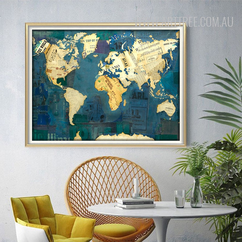 Blue Vintage World Map Art (2)