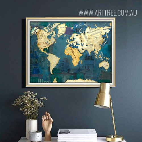 Blue Vintage World Map Art