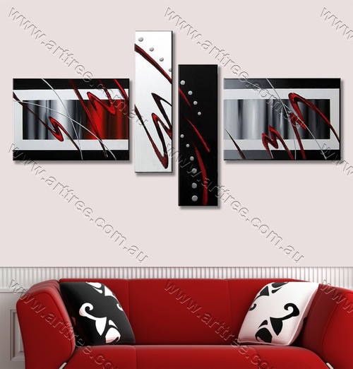 split canvas painting Red Zig Zag