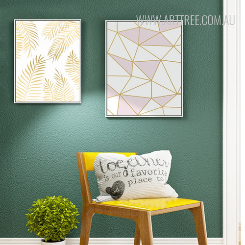 Geometric Lines Golden Leaves Art Set