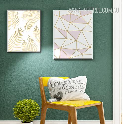 Geometric Lines Golden Leaves Art Set