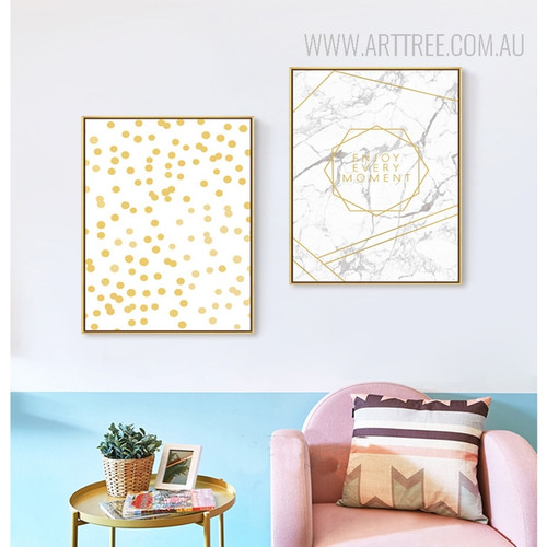 Geometric Dots, Enjoy Every Moment Golden Dots Canvas Prints