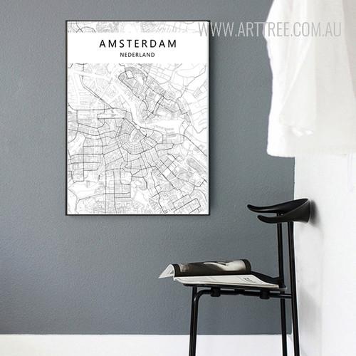 Amsterdam Nederland Map Art