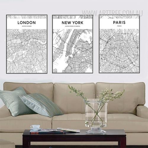 London New York Paris City Map Art Set