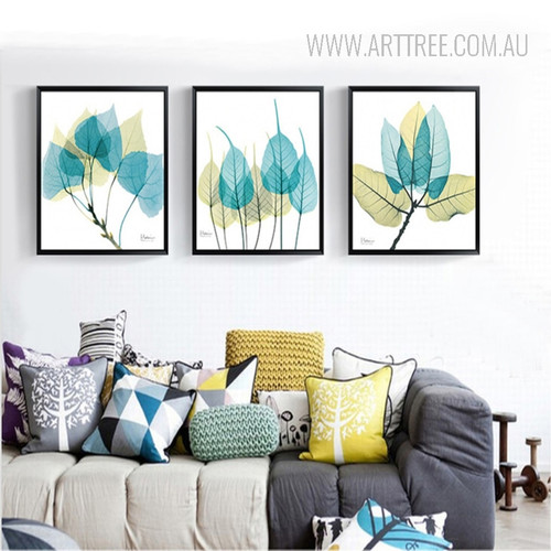 Abstract Watercolor Blue Leaves Canvas Art