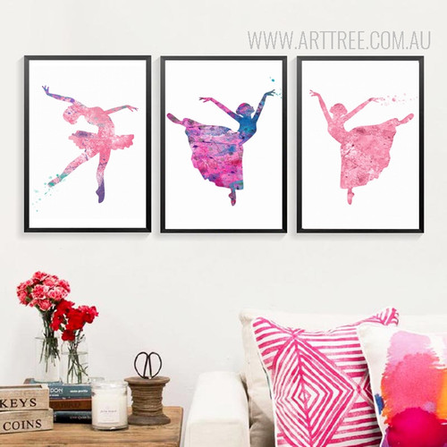 Watercolor Ballet Dancing Girls Pictures Canvas Painting Prints
