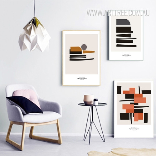 Abstract Geometric Black Brown Prints