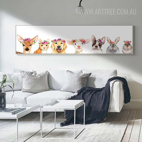 Cute Deer, Dog, Cat, Sheep Animals Canvas Print