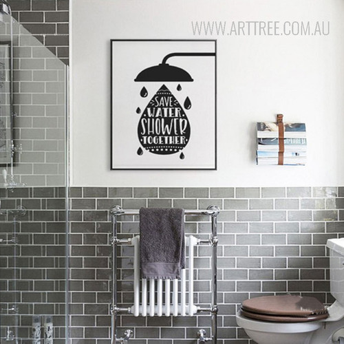 Save Water Shower Together Words Canvas Art
