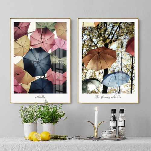 The Floating Umbrella Multicolor Canvas Prints
