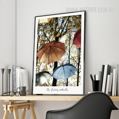 The Floating Umbrellas Multicolor Canvas Print
