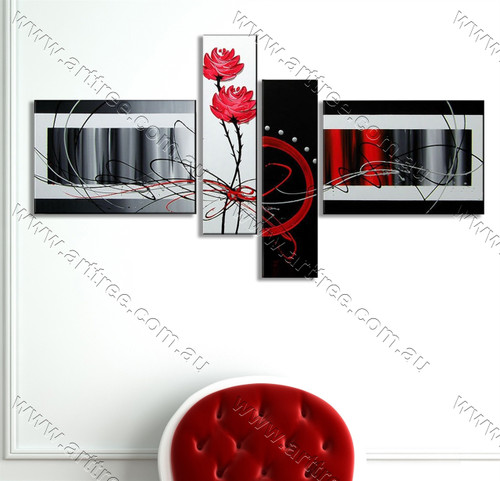 split complementary painting Red Rose