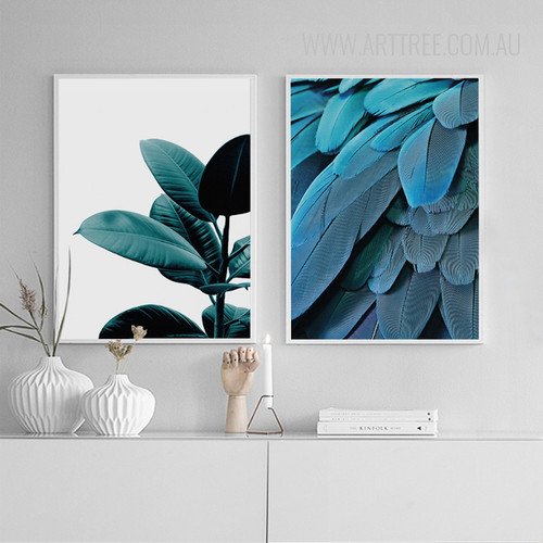 Blue Feathers Green Plant Wall Art Set