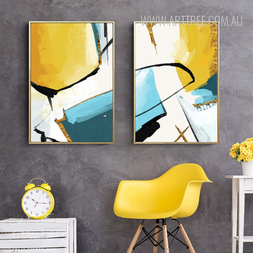 Abstract Yellow Painting Print Set