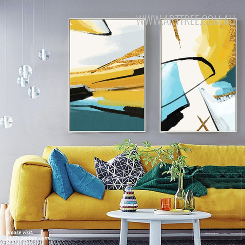 Abstract Black Stripes Wall Art Set