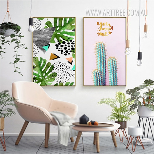 You and Me Cactus Geometric Leaf Art