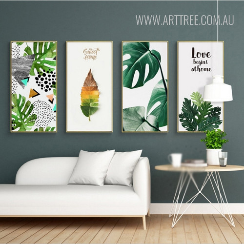 Sweet Home Green Leaves Love Begins At Home Wall Art Set