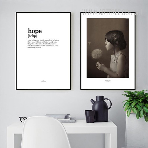 Black and White Hope Quote Girl with Flower Canvas Prints