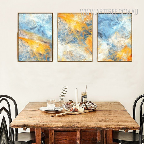 Blue Yellow Modern Abstract Watercolor Prints