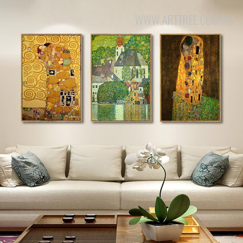 Europe Vintage Klimt The Kiss Character Embracing Wall Art Set