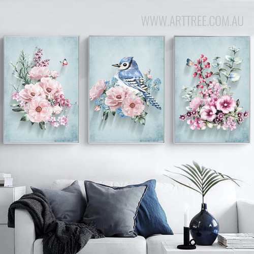 Pink Peony Flowers with Humming Bird Print Set