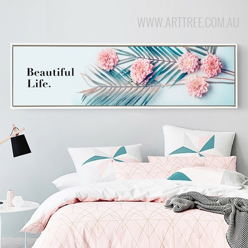 Beautiful Life Big Leaves Pink Floral Art