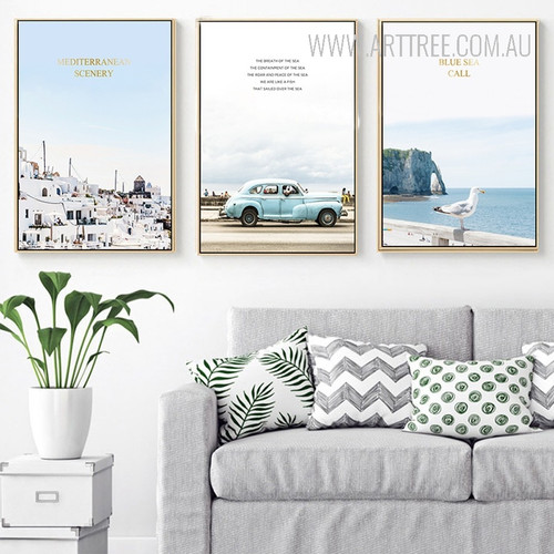 Mediterranean Scenery Blue Sea Call Oceanscape Canvas Prints