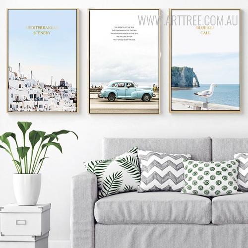 Mediterranean Scenery Blue Sea Call Oceanscape Canvas Prints