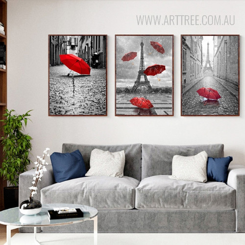 Paris Eiffel Tower Red Umbrella Canvas Painting Prints