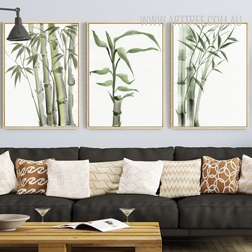 Green Bamboo Plant Wall Art Set